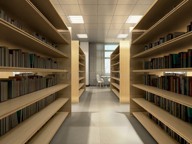 Tabelas das estantes da sala da biblioteca com sala clara 3d da biblioteca das cadeiras para render ilustração do vetor