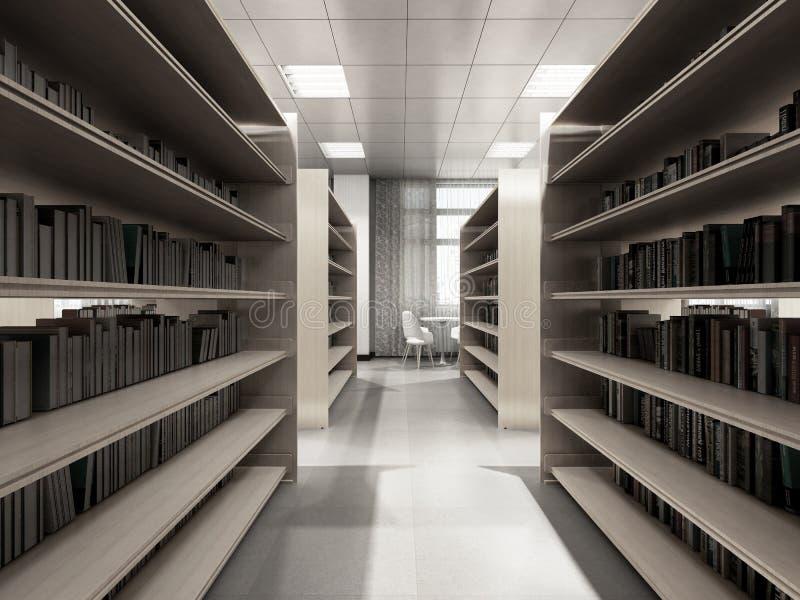 Tabelas das estantes da sala da biblioteca com sala clara 3d da biblioteca das cadeiras para render ilustração stock