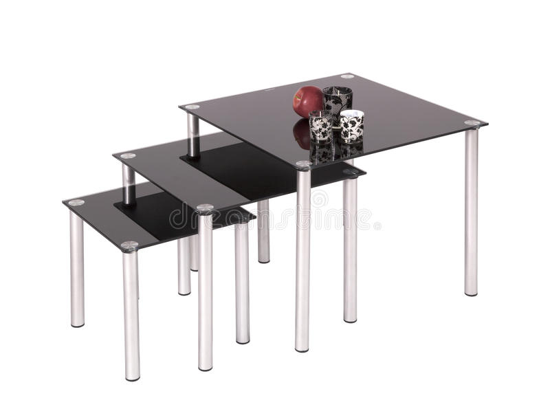 Tabelas de jantar superiores de vidro pretas fotos de stock royalty free