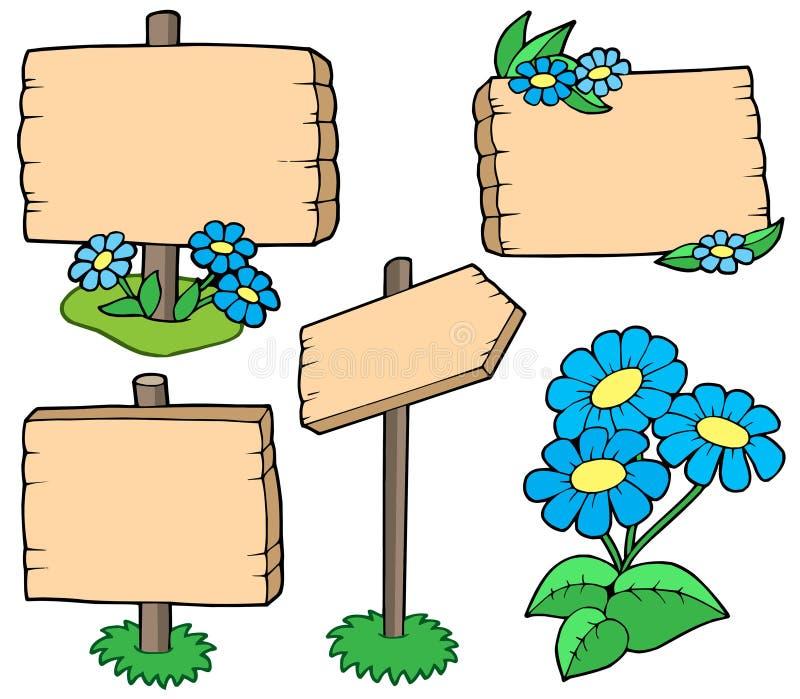 Tabelas de madeira com coleção das flores ilustração do vetor