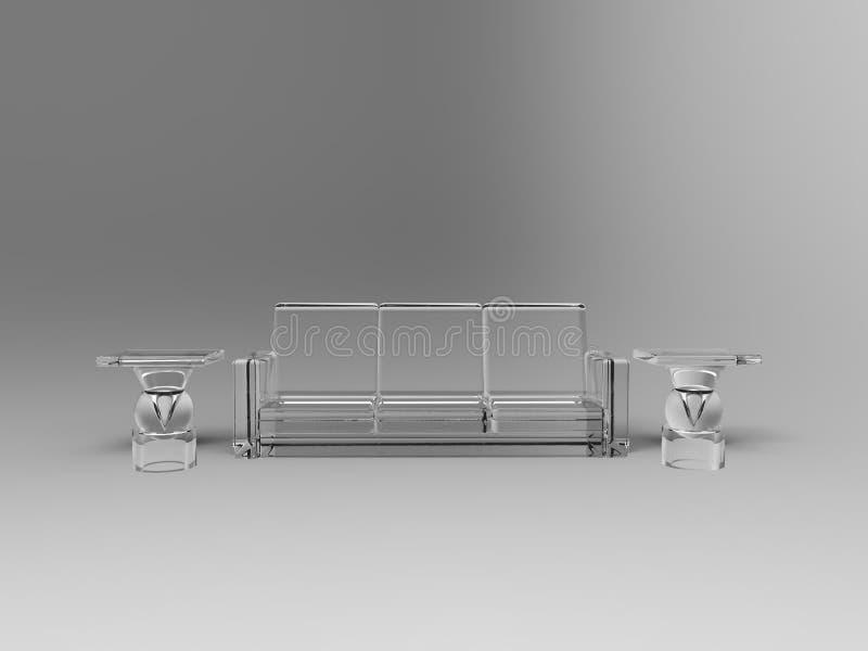 tabelas de vidro abstratas do sofá 3d ilustração do vetor