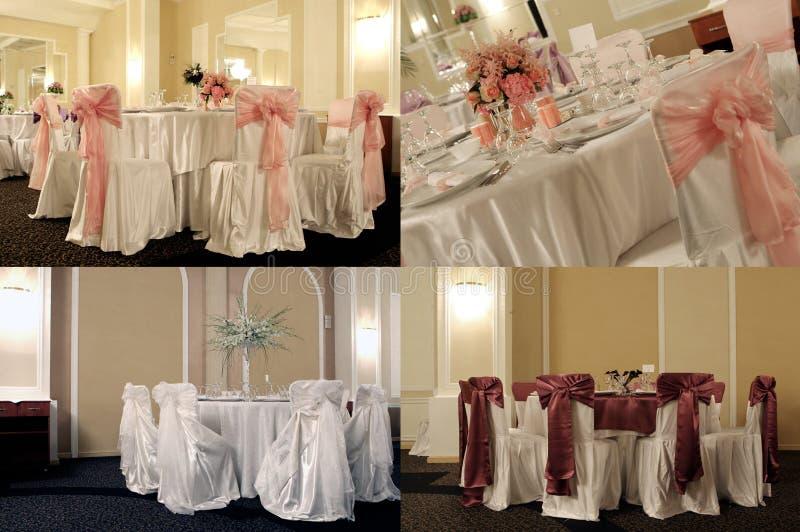 Tabelas em um salão de baile do casamento, multicam, separação da tela em quatro porções imagem de stock