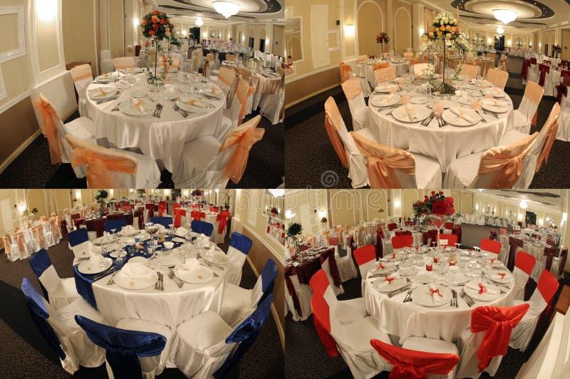 Tabelas em um salão de baile do casamento, multicam, separação da tela em quatro porções foto de stock royalty free
