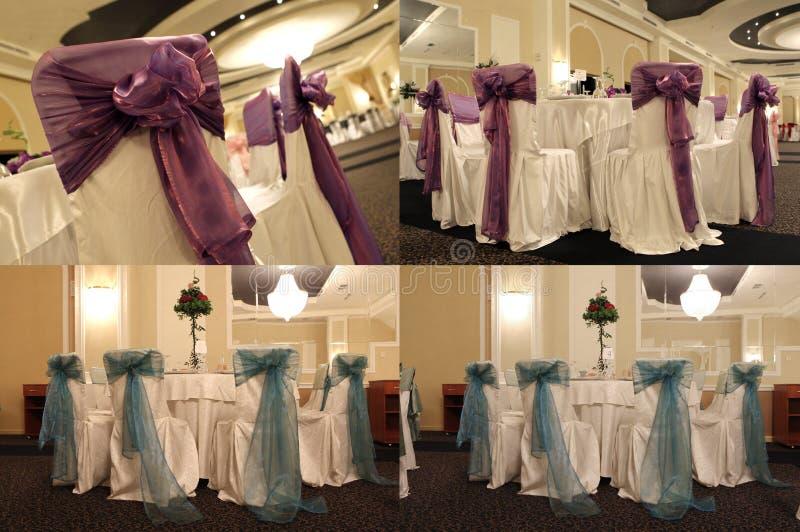 Tabelas em um salão de baile do casamento, multicam, separação da tela em quatro porções imagem de stock royalty free