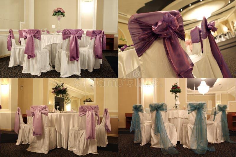 Tabelas em um salão de baile do casamento, multicam, separação da tela em quatro porções fotos de stock royalty free