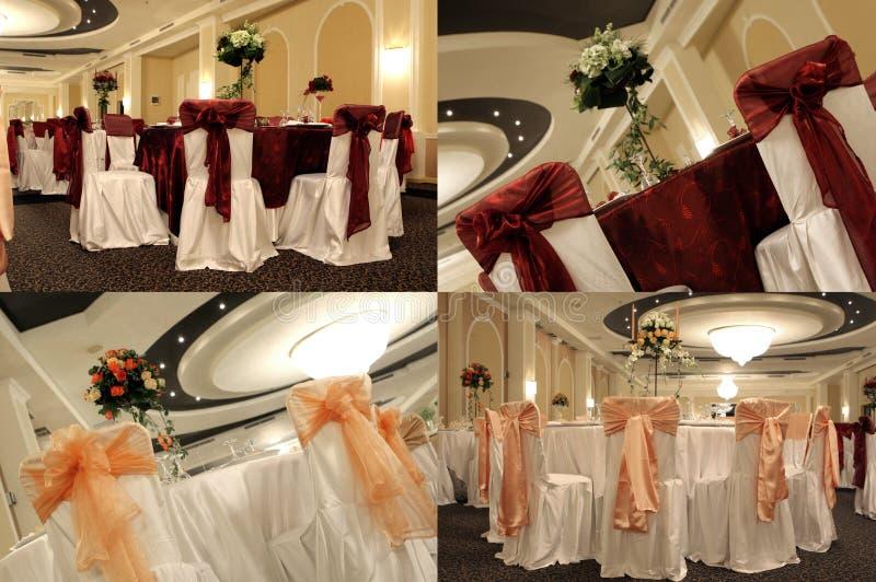Tabelas em um salão de baile do casamento, multicam, separação da tela em quatro porções imagens de stock royalty free