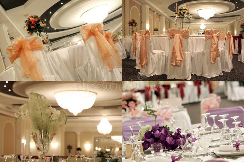 Tabelas em um salão de baile do casamento, multicam, separação em quatro porções, grade 2x2 da tela fotografia de stock