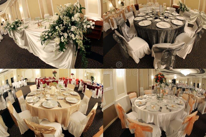 Tabelas em um salão de baile do casamento, multicam, separação em quatro porções, grade 2x2 da tela fotos de stock