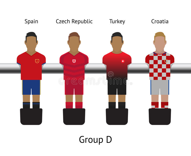 Tabele o jogo de futebol grupo do jogador de futebol do foosball Espanha, República Checa, Turquia, Croácia ilustração stock