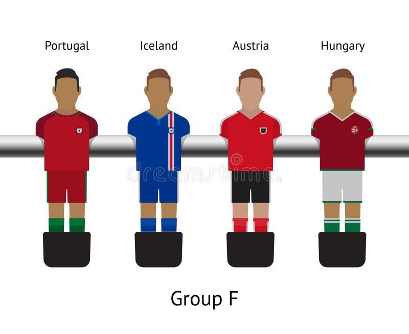 Tabele o jogo de futebol grupo do jogador de futebol do foosball Portugal, Islândia, Áustria, Hungria ilustração do vetor