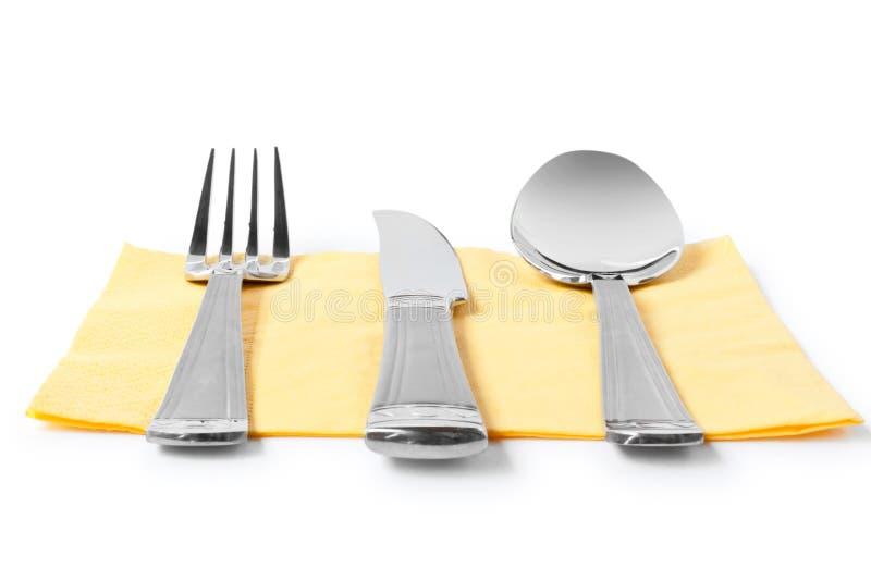 tabell för sked för gaffelknivservett arkivbilder