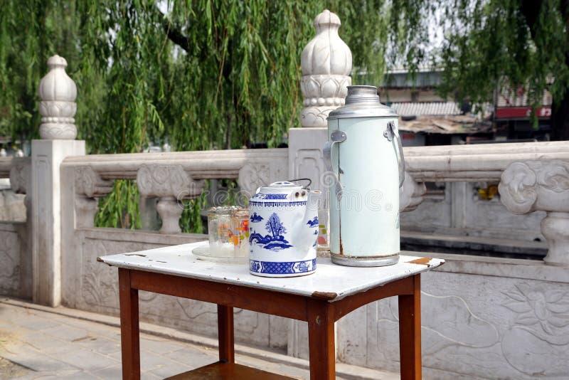 tabell för te för houhaibeijing vägren arkivfoton