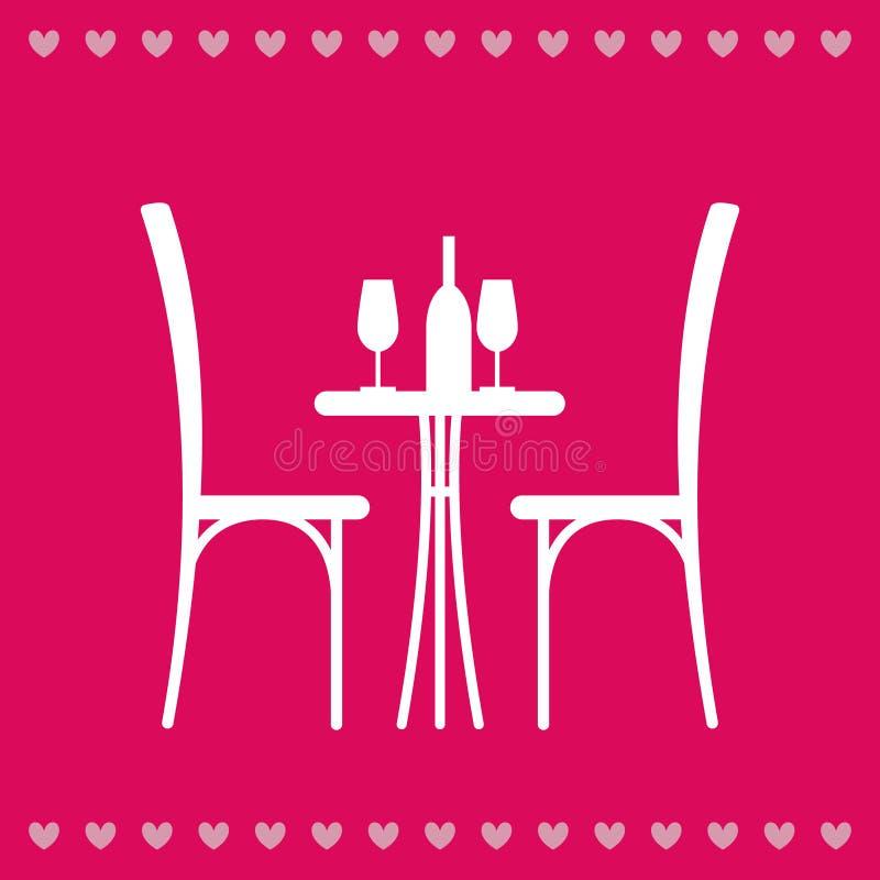 Tabell i restaurangen för två stock illustrationer