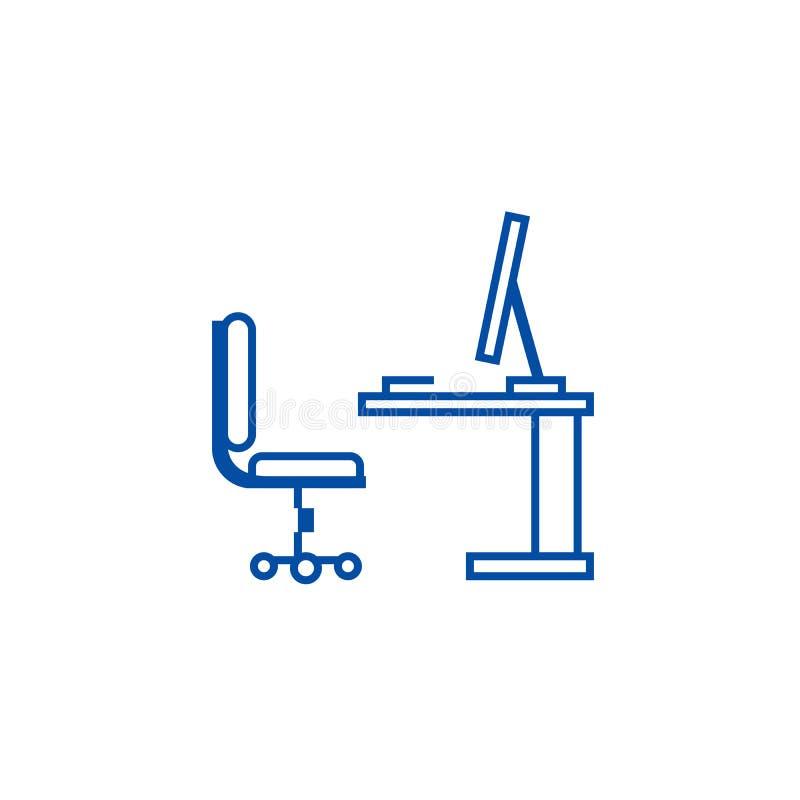 Tabell kontorsskrivbord med datorsideviewlinjen symbolsbegrepp Tabell kontorsskrivbord med symbol för vektor för datorsideview pl vektor illustrationer