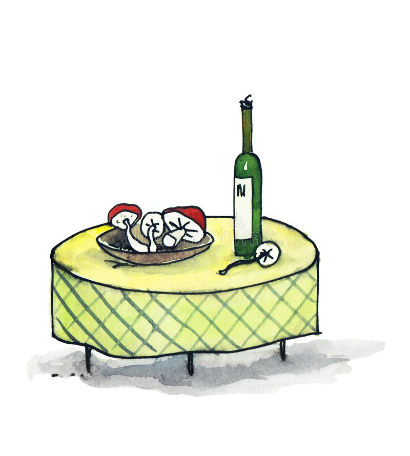Tabell med en flaska av vin och champinjoner på en platta working f?r tabell f?r man f?r humoristisk illustration f?r tecknad fil vektor illustrationer