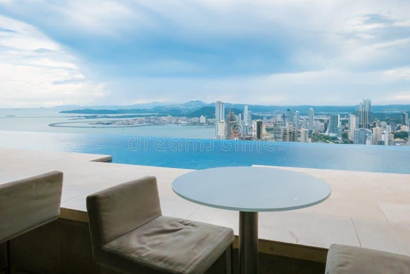 Tabell med en sikt Panama City royaltyfri bild