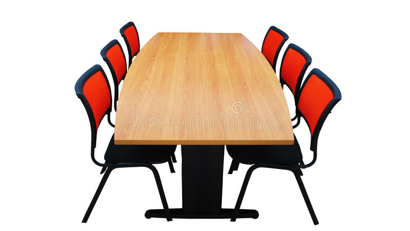 Tabell med isolerade stolar arkivfoto