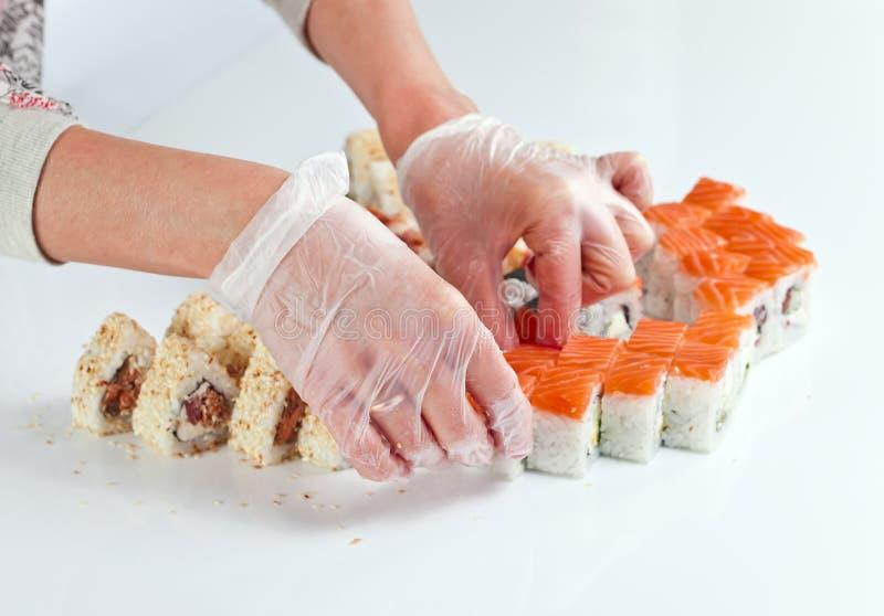 Tabell med sushi fotografering för bildbyråer