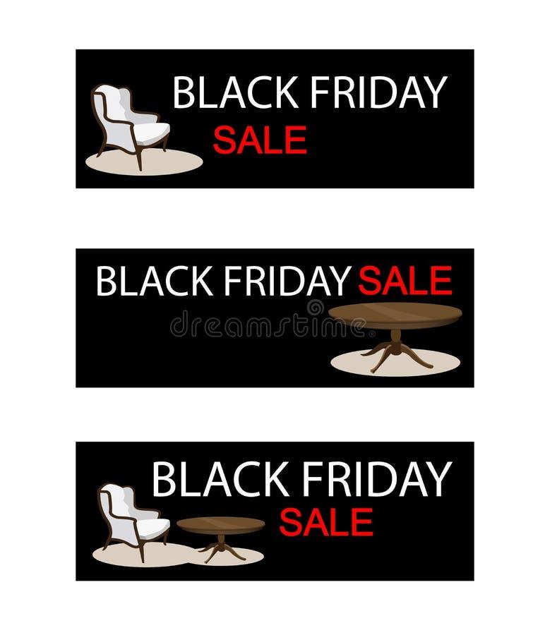 Tabell och stol på det Black Friday Sale banret royaltyfri illustrationer