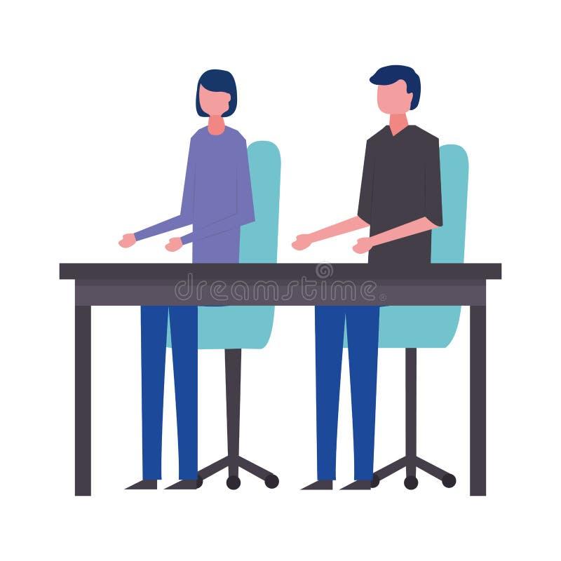 Tabell och stolar för kontor för affärsman och kvinna royaltyfri illustrationer
