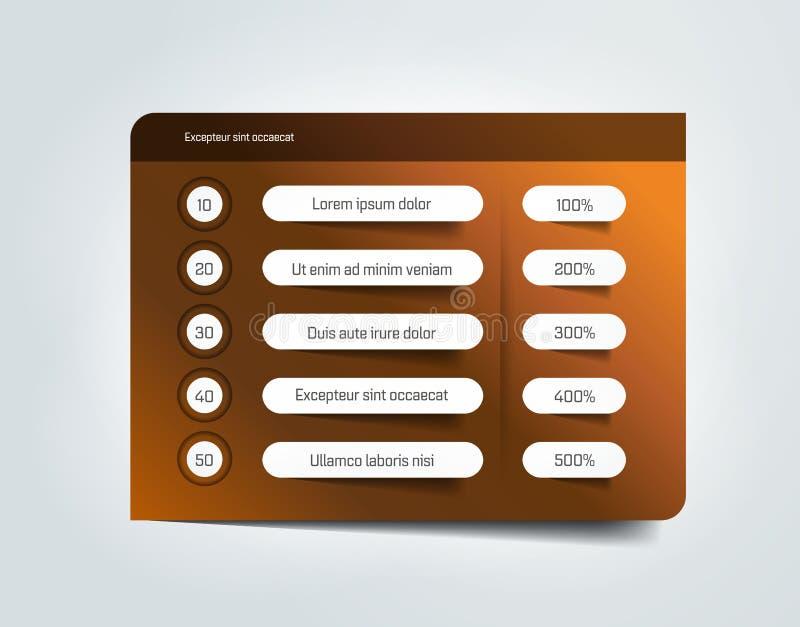 Tabell schema, infographic designmall med rad 5 i lager vektor för baner eps10 mapp stock illustrationer