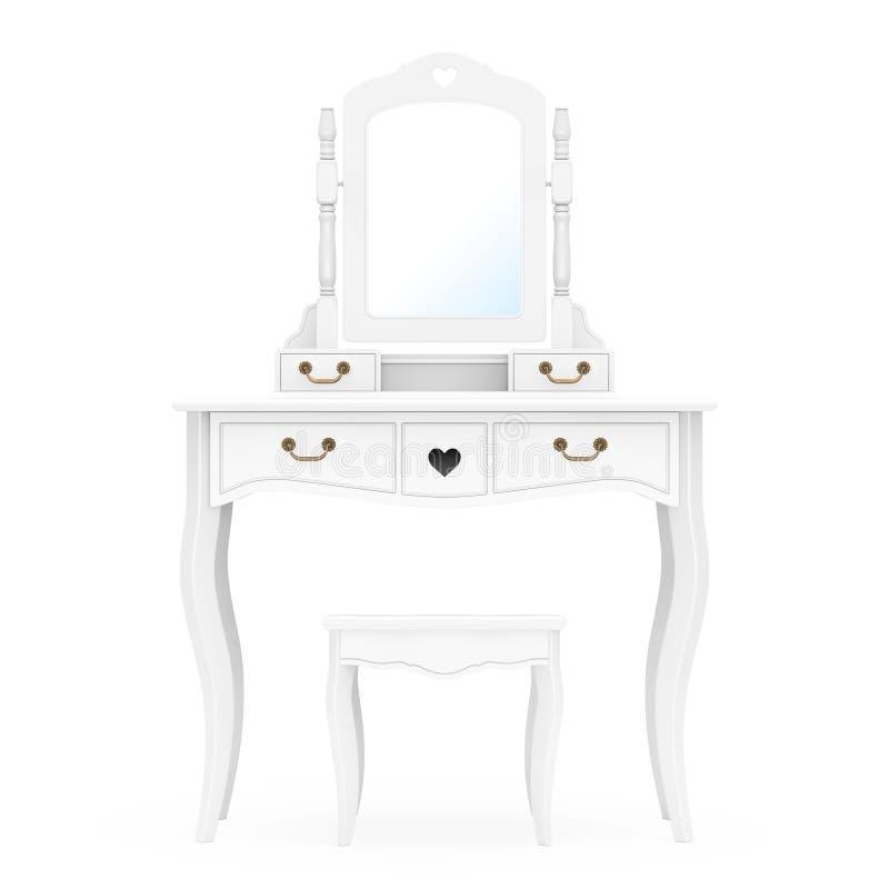 Tabella antica di vanità della camera da letto con le feci e lo specchio rappresentazione 3d illustrazione di stock