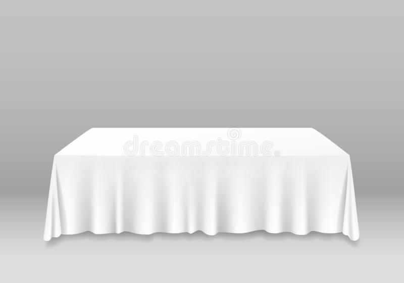 Tabella in bianco bianca dettagliata realistica 3d con il modello del modello della tovaglia Vettore royalty illustrazione gratis