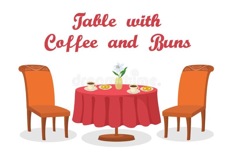 Tabella con caffè ed i panini isolati royalty illustrazione gratis