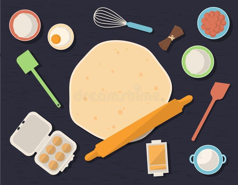 Tabella con gli ingredienti di cottura illustrazione di stock