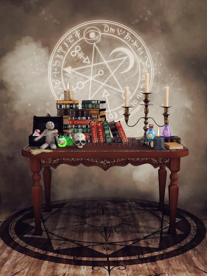 Tabella con gli oggetti magici illustrazione vettoriale
