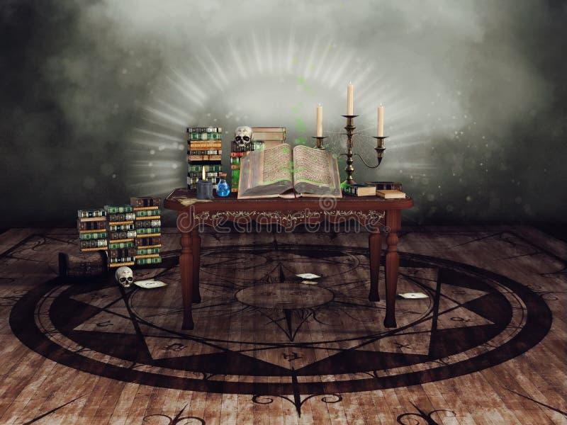 Tabella con gli oggetti rituali illustrazione di stock