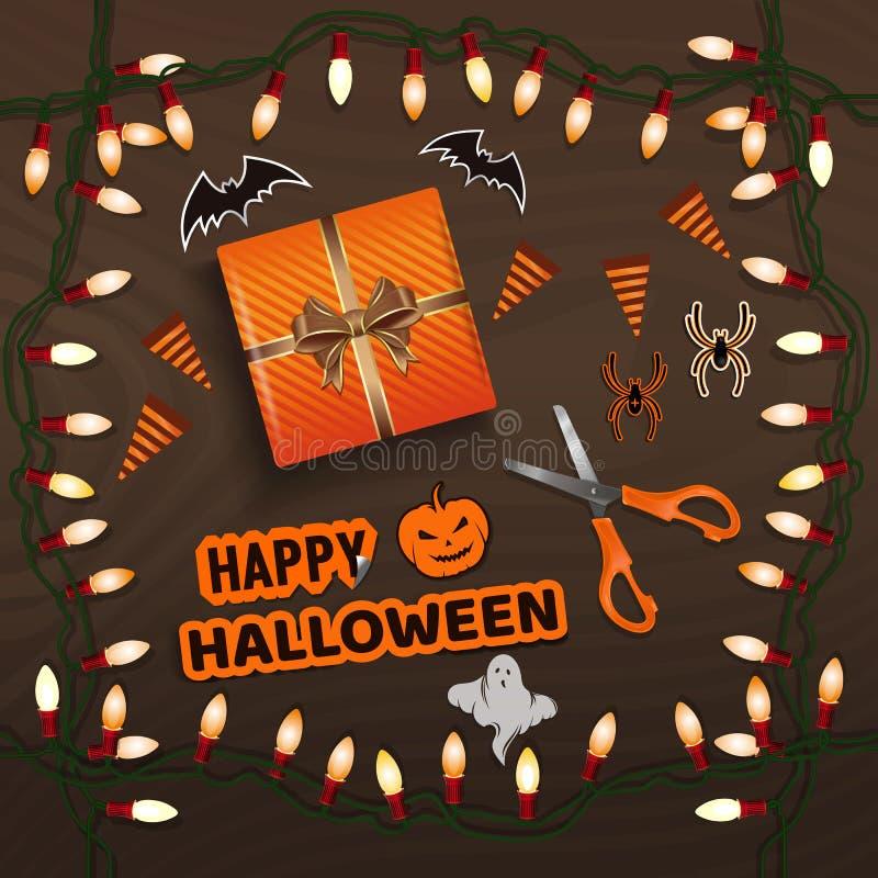 Tabella con i regali per la vista superiore di Halloween illustrazione vettoriale