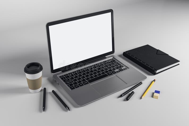 Tabella con il computer portatile emtpy illustrazione di stock