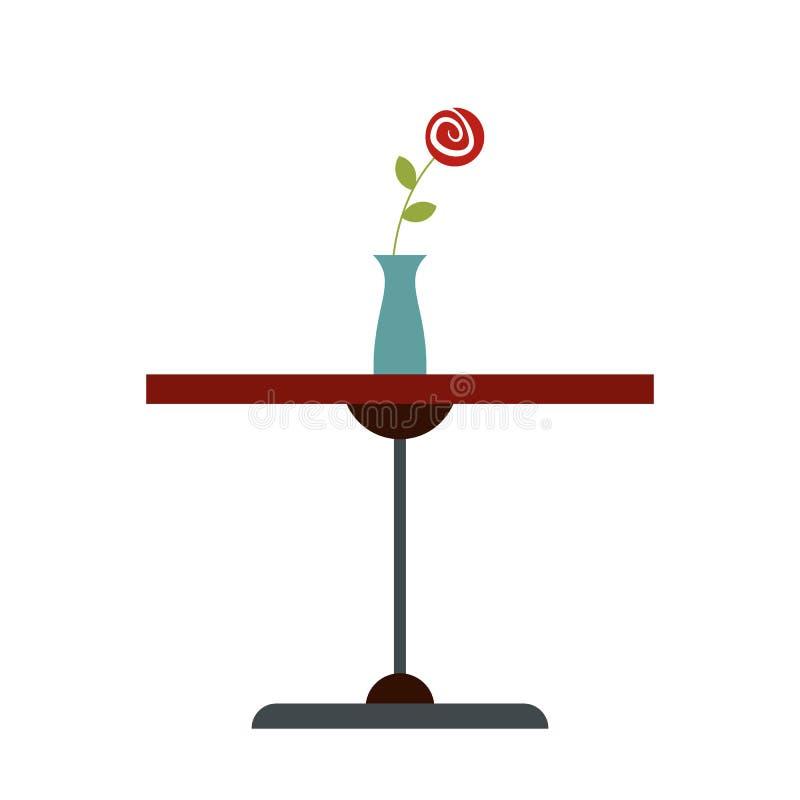 Tabella con l'icona piana del vaso illustrazione vettoriale