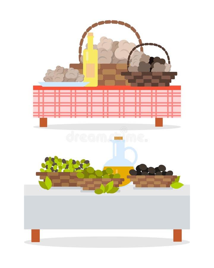 Tabella con la bottiglia di vino e brocca e canestri dell'olio royalty illustrazione gratis