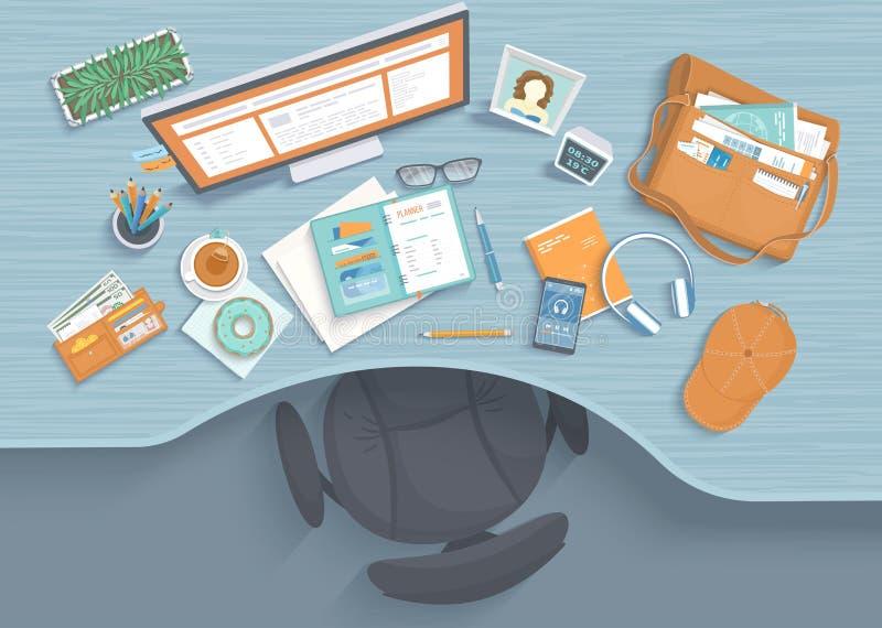 Tabella con la cavità, poltrona, monitor, pianificatore, cuffie, telefono Posto di lavoro moderno ed alla moda illustrazione vettoriale