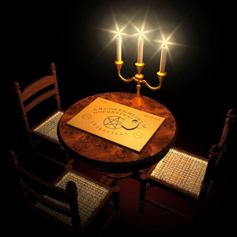 Tabella con la tavoletta per sedute spiritiche e le candele immagine stock
