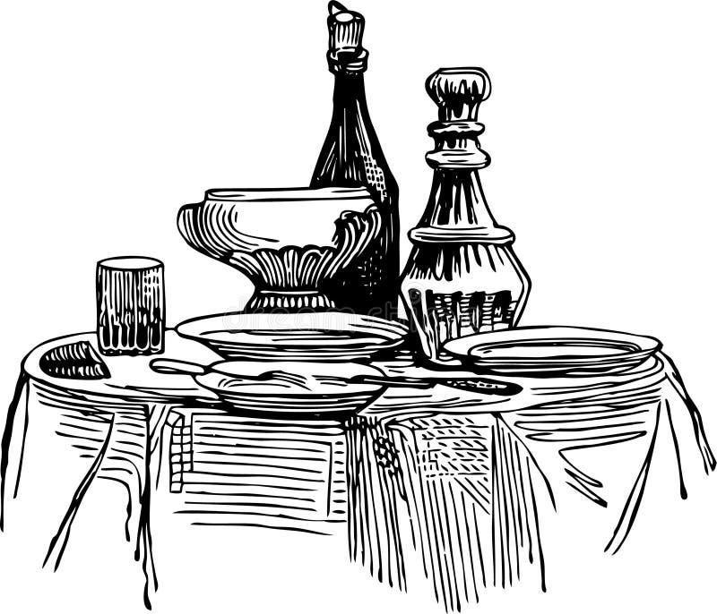 Tabella decorata illustrazione di stock