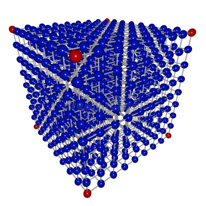 Tabella del cubo delle sfere connesse illustrazione di stock