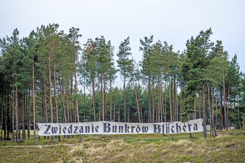 Tabella del secondo bunker Batterie Bluecher del mondo in Ustka Polonia immagini stock libere da diritti