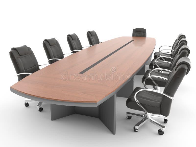 Tabella della sala riunioni isolata su bianco illustrazione di stock