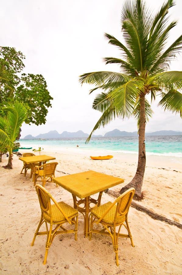 Tabella della spiaggia sotto la palma immagine stock libera da diritti