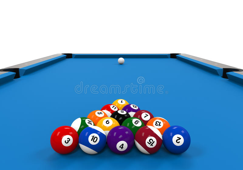 Tabella di biliardo blu illustrazione di stock