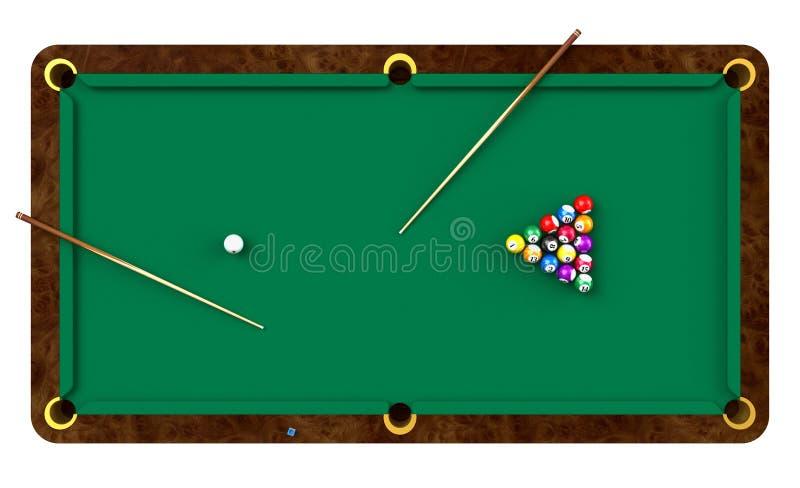 Tabella di biliardo con le sfere e le indicazioni illustrazione di stock