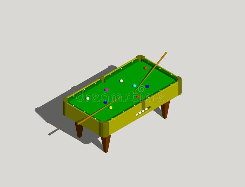 Tabella di biliardo Isolato su priorità bassa grigia illust della rappresentazione 3D illustrazione vettoriale