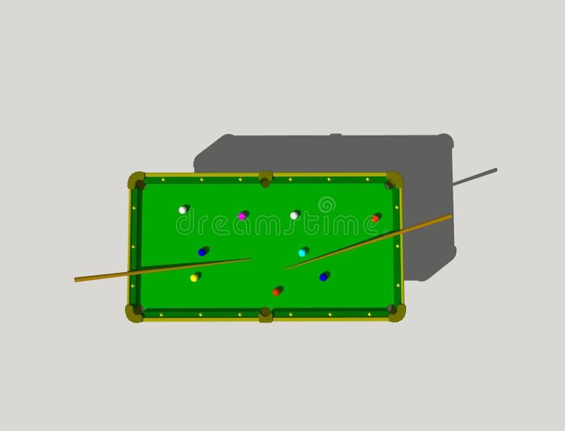 Tabella di biliardo Isolato su priorità bassa grigia rappresentazione 3d royalty illustrazione gratis