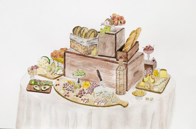 Tabella di buffet Formaggi, frutti e bacche meravigliosamente su un vinta royalty illustrazione gratis