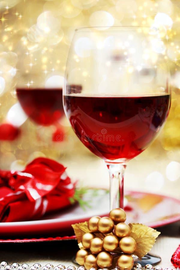 Tabella di cena decorata di Natale immagini stock libere da diritti