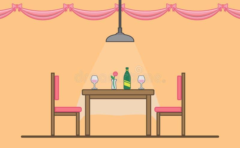 Tabella di Dinning per la data romantica illustrazione vettoriale