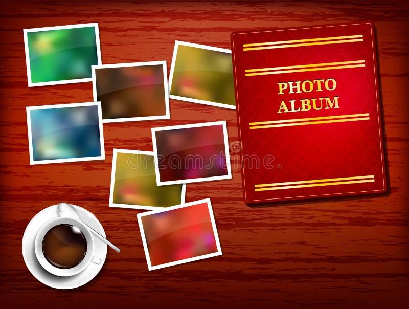 Tabella di legno, album, foto, caffè illustrazione vettoriale